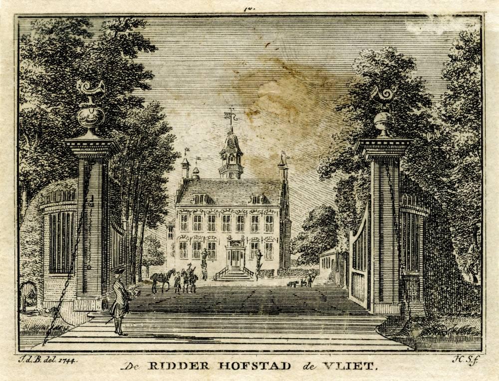Huis te Vliet in Lopik. Tekening Jan de Beijer, gravure Hendrik Spilman(Uit: Het Verheerlykt Nederland, Isaac Tirion, 1745/1774)